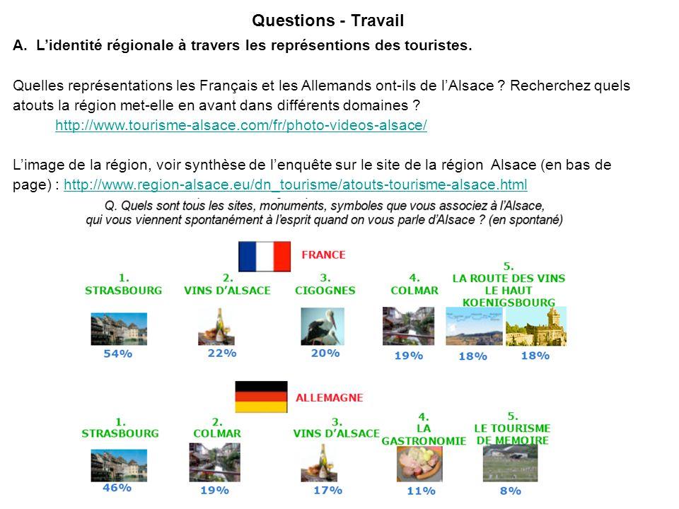 Questions - TravailA. L'identité régionale à travers les représentions des touristes.