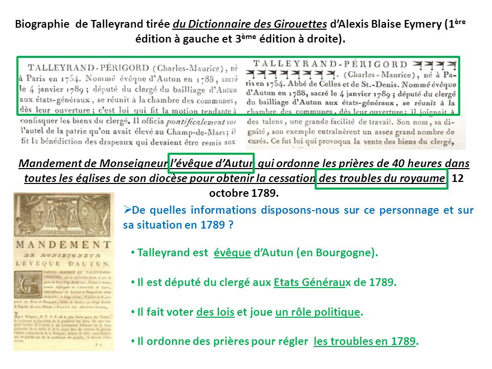 Biographie de Talleyrand tirée du Dictionnaire des Girouettes d'Alexis Blaise Eymery (1ère édition à gauche et 3ème édition à droite).
