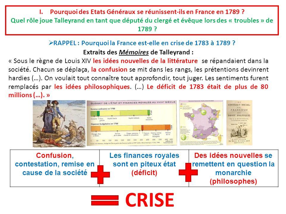 Pourquoi des Etats Généraux se réunissent-ils en France en 1789