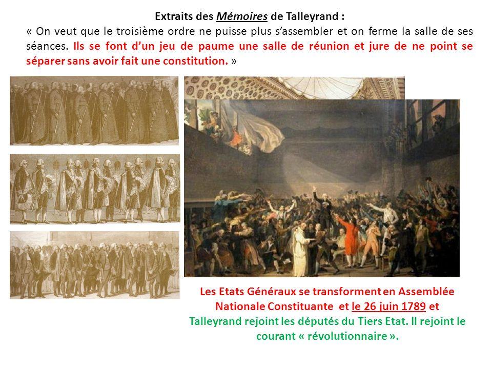 Extraits des Mémoires de Talleyrand :