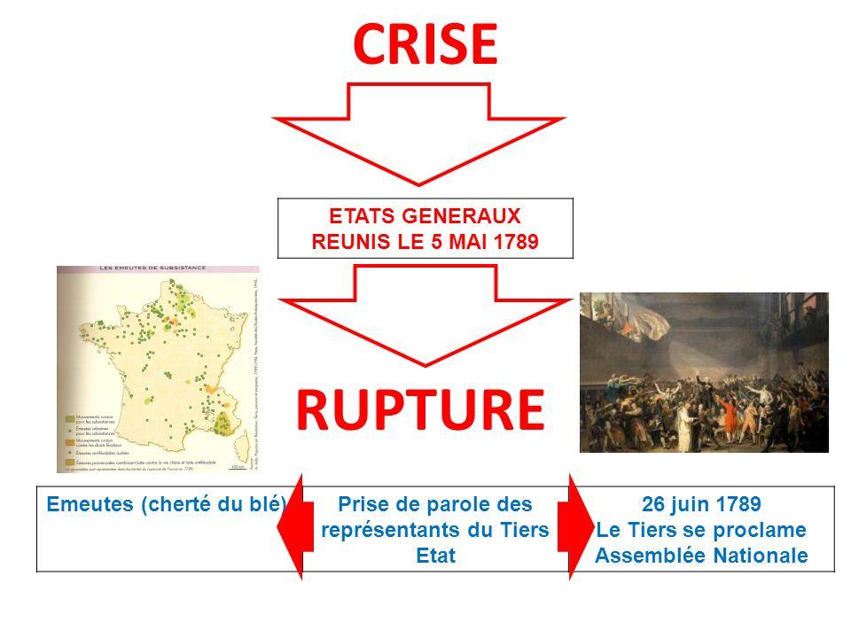 CRISE RUPTURE ETATS GENERAUX REUNIS LE 5 MAI 1789