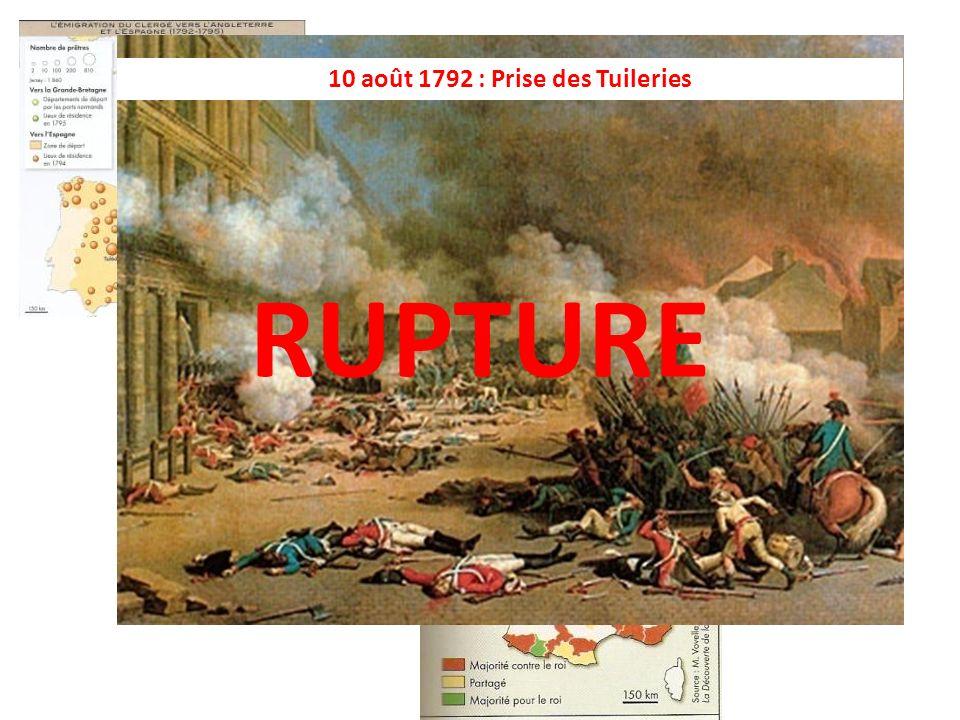 10 août 1792 : Prise des Tuileries L'hostilité au roi croît.