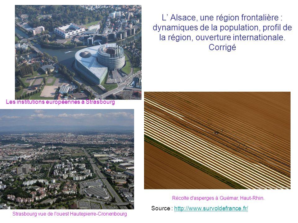 L' Alsace, une région frontalière : dynamiques de la population, profil de la région, ouverture internationale. Corrigé