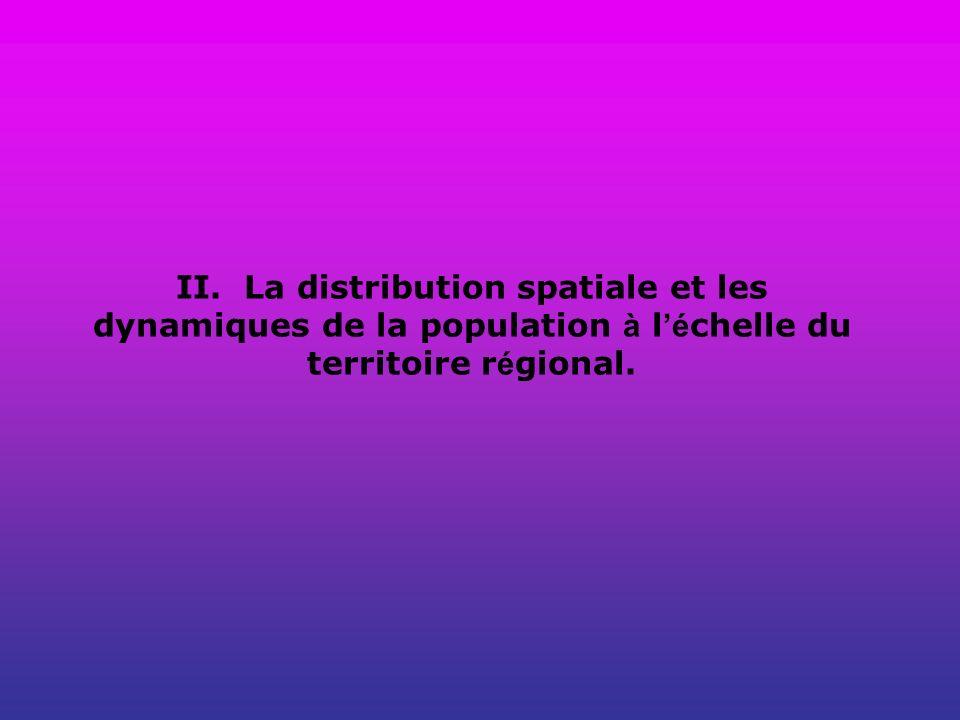 II. La distribution spatiale et les dynamiques de la population à l'échelle du territoire régional.