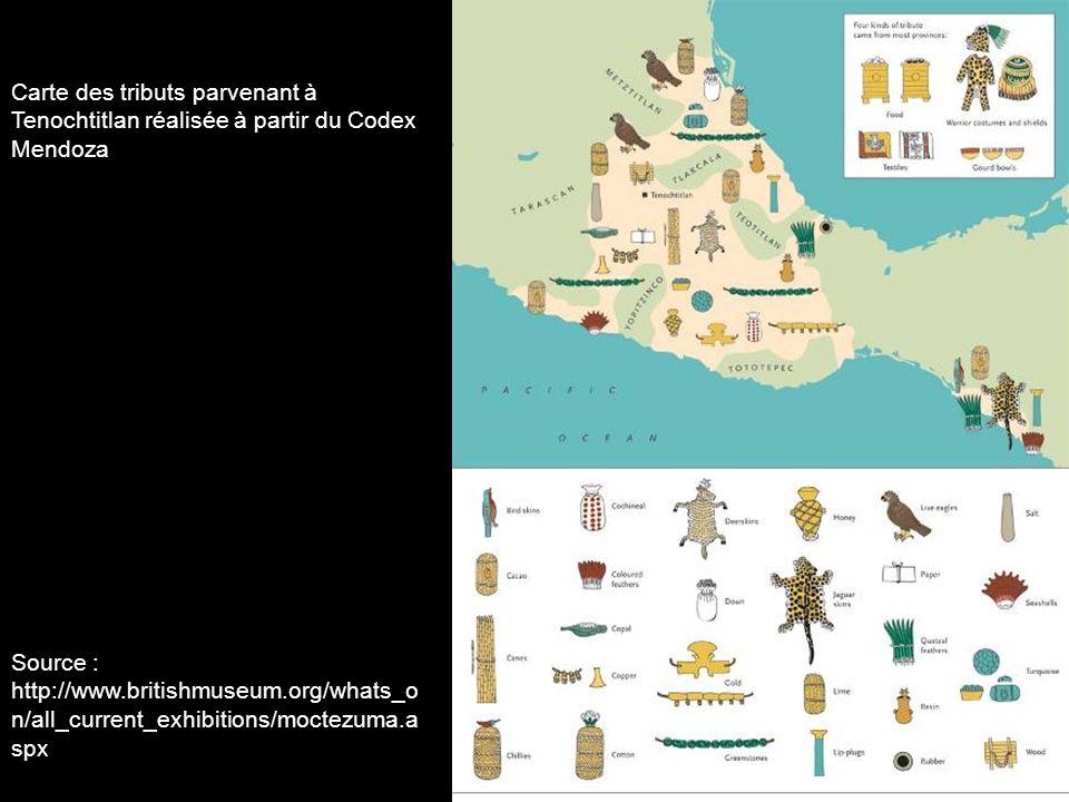 Carte des tributs parvenant à Tenochtitlan réalisée à partir du Codex Mendoza