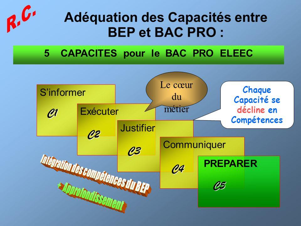 Adéquation des Capacités entre BEP et BAC PRO :