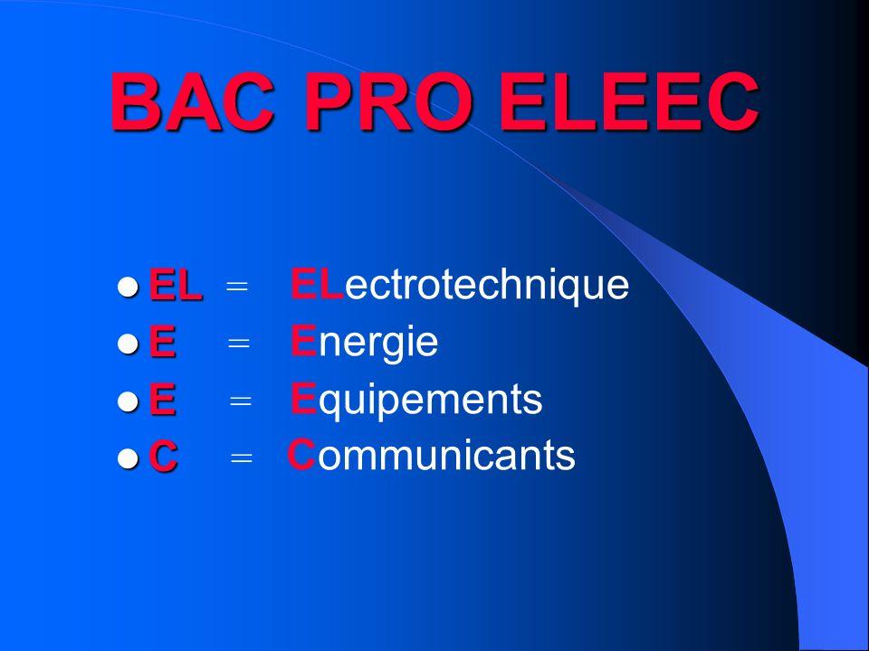 BAC PRO ELEEC EL = ELectrotechnique E = Energie Equipements C =