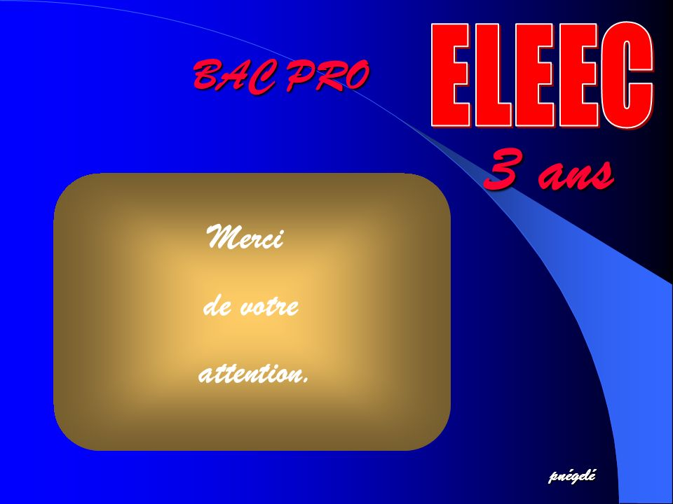 ELEEC BAC PRO 3 ans Merci de votre attention. pnégelé