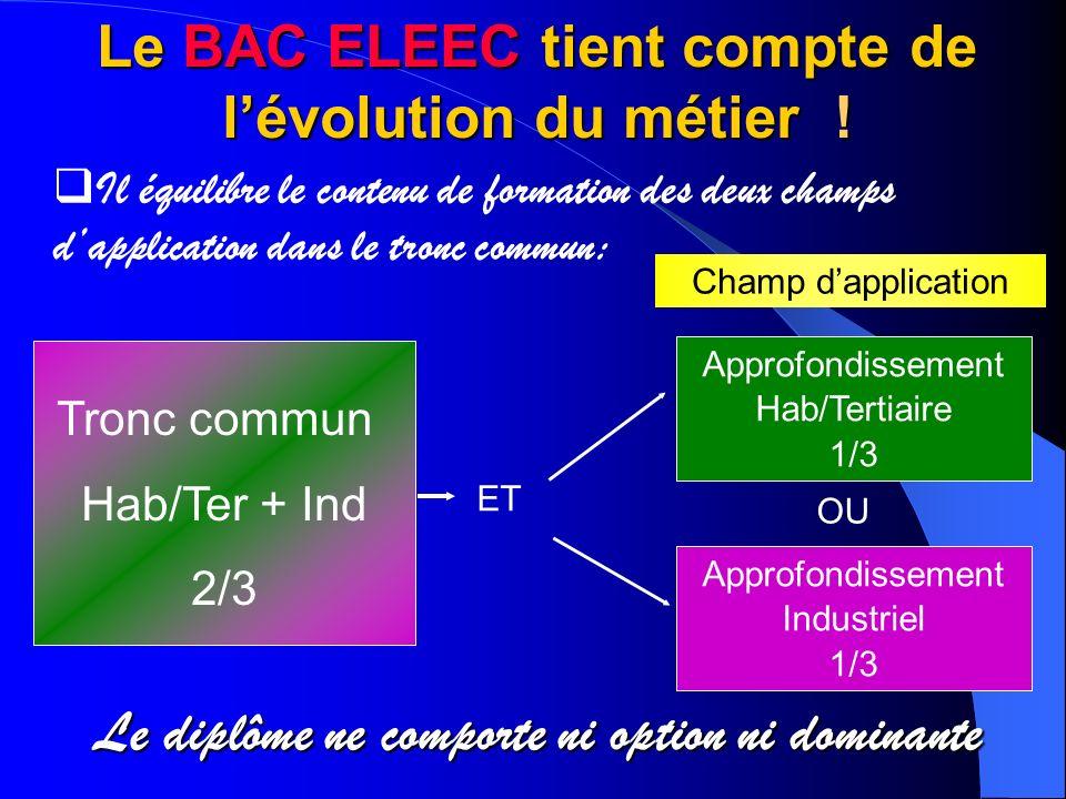 Le BAC ELEEC tient compte de l'évolution du métier !
