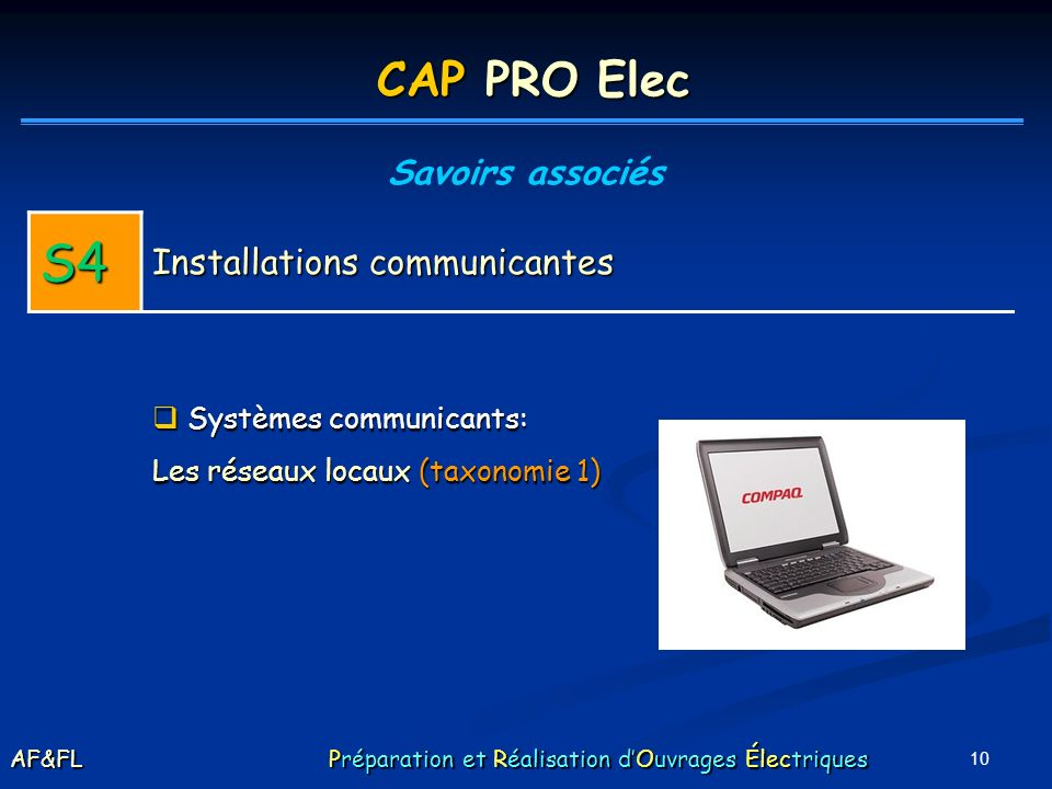 S4 CAP PRO Elec Installations communicantes Savoirs associés
