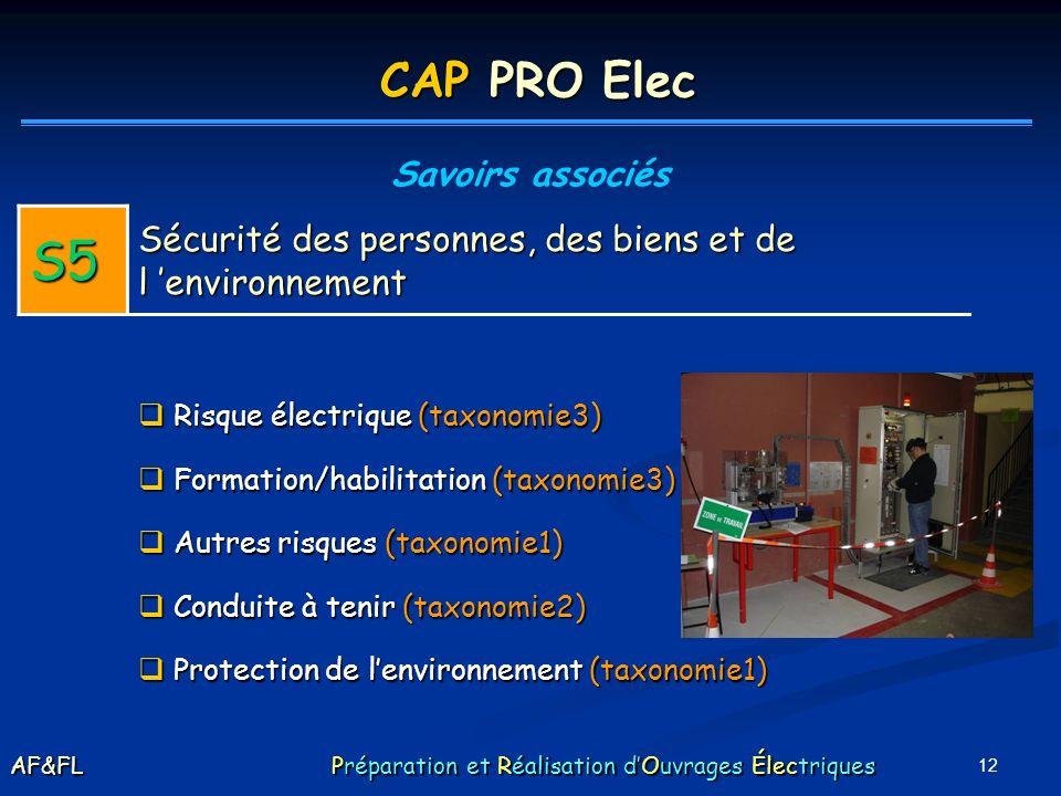 CAP PRO Elec Savoirs associés. S5. Sécurité des personnes, des biens et de l 'environnement. Risque électrique (taxonomie3)