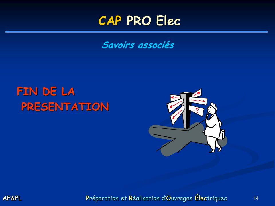 CAP PRO Elec FIN DE LA PRESENTATION Savoirs associés