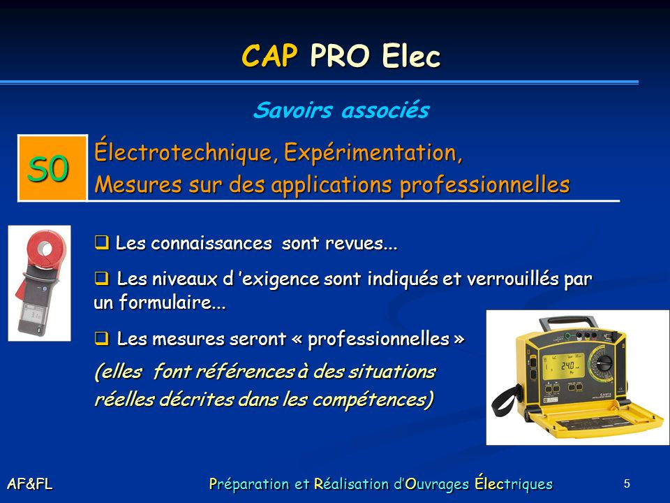 CAP PRO Elec Savoirs associés. S0. Électrotechnique, Expérimentation, Mesures sur des applications professionnelles.