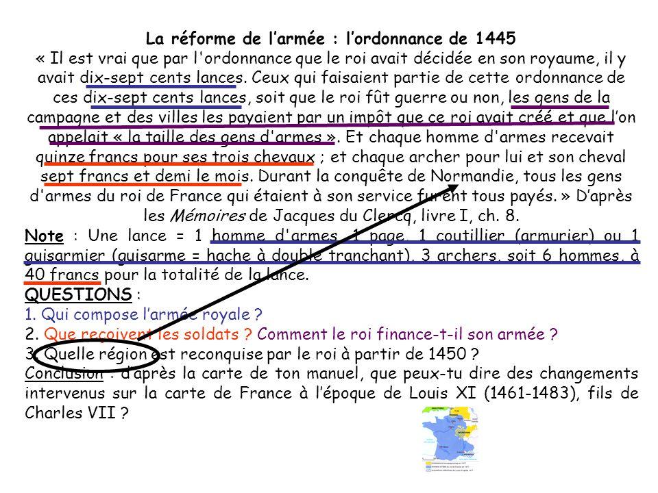 La réforme de l'armée : l'ordonnance de 1445