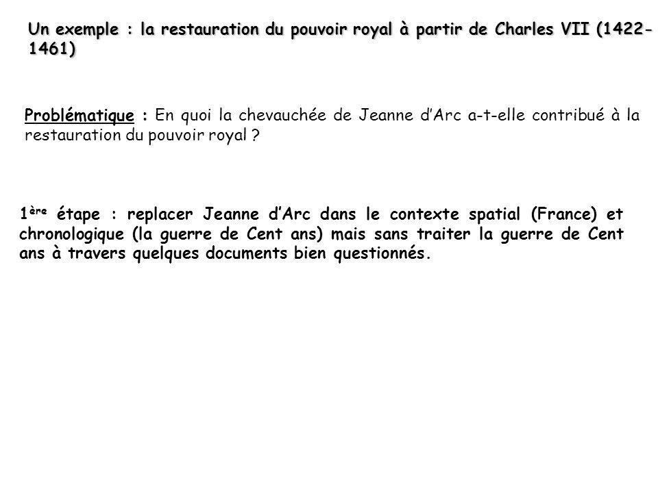 Un exemple : la restauration du pouvoir royal à partir de Charles VII (1422-