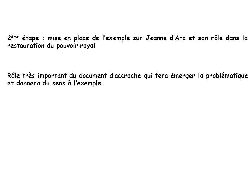2ème étape : mise en place de l'exemple sur Jeanne d'Arc et son rôle dans la restauration du pouvoir royal