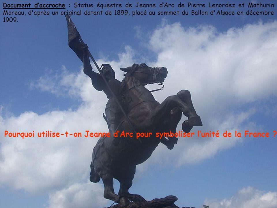 Document d'accroche : Statue équestre de Jeanne d'Arc de Pierre Lenordez et Mathurin Moreau, d après un original datant de 1899, placé au sommet du Ballon d Alsace en décembre 1909.