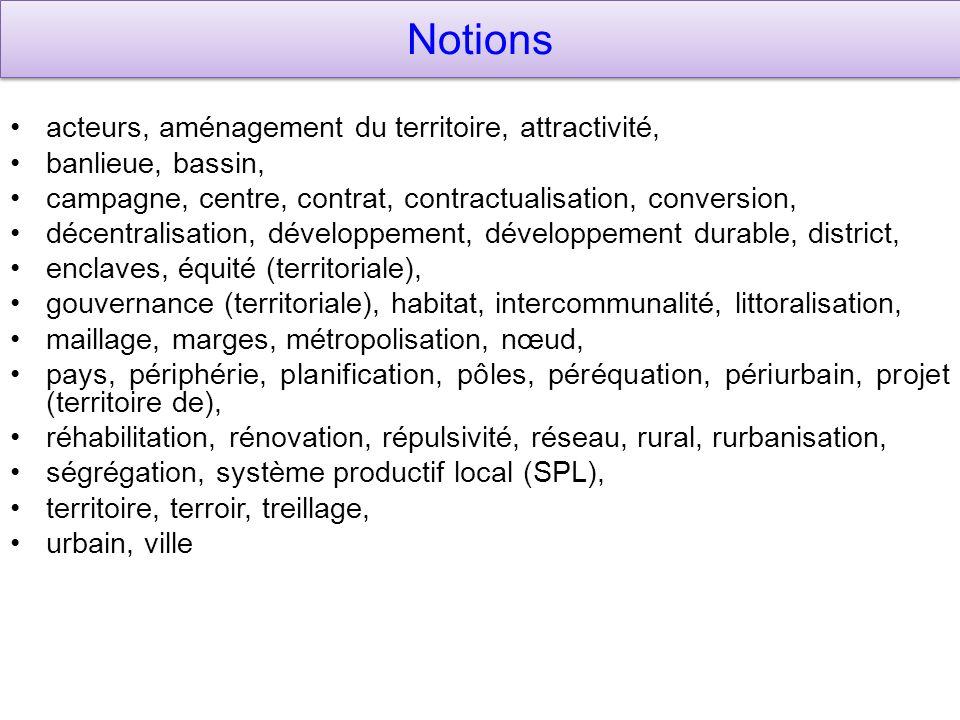 Notions acteurs, aménagement du territoire, attractivité,