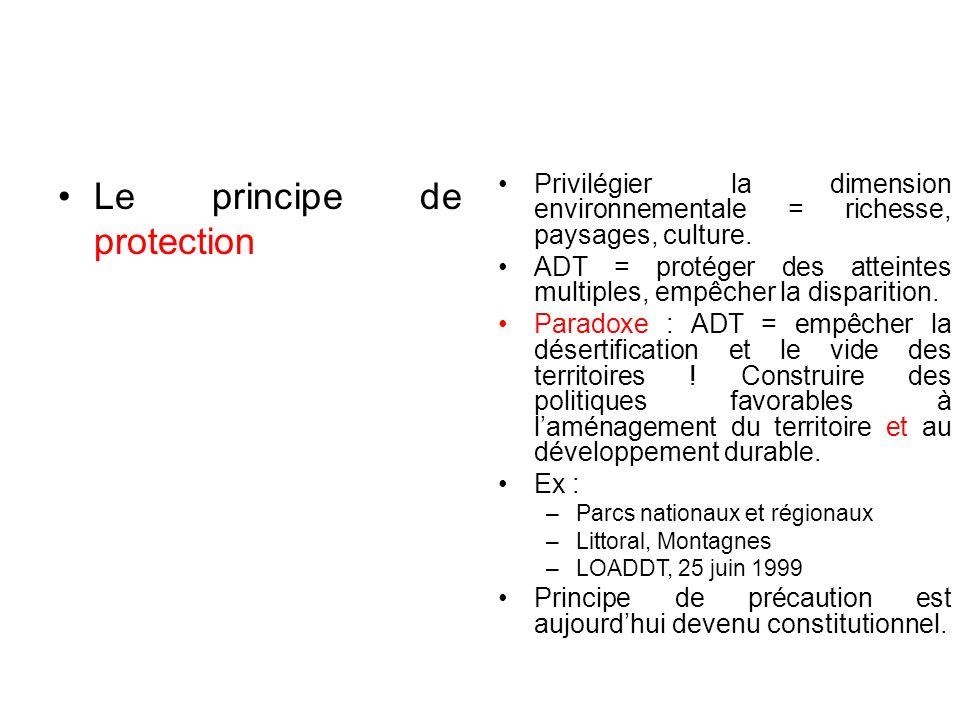 Le principe de protection