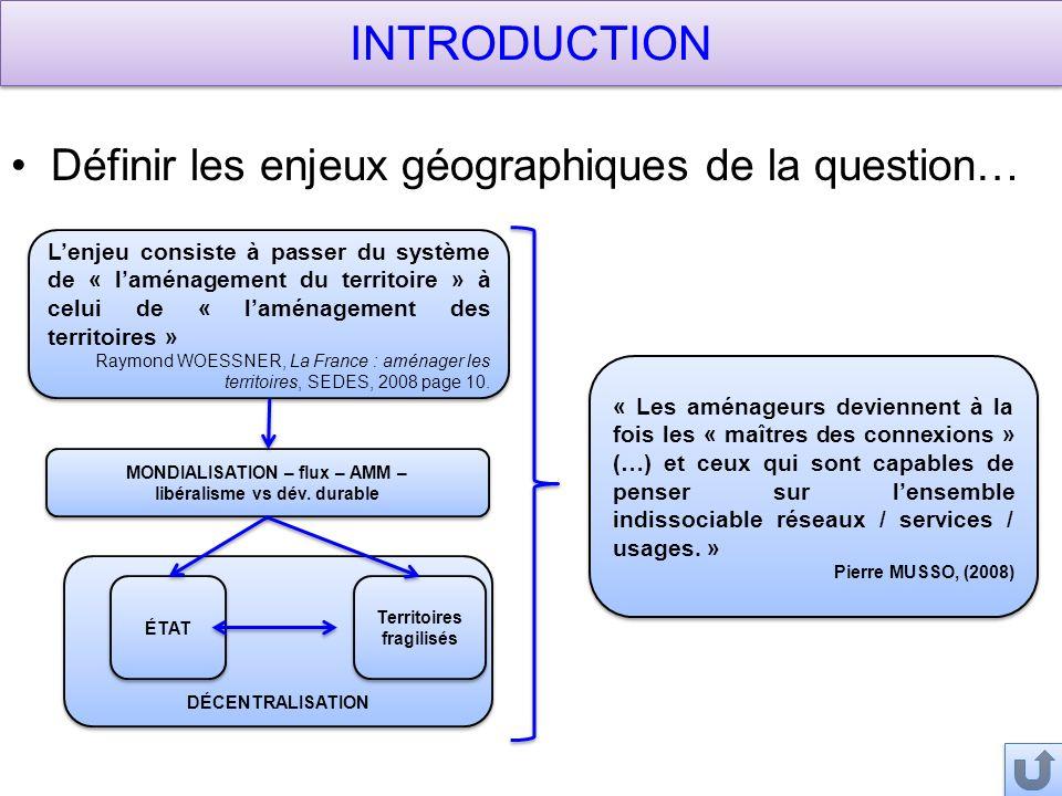 INTRODUCTION Définir les enjeux géographiques de la question…