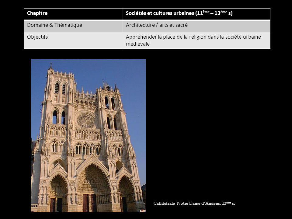 Sociétés et cultures urbaines (11ème – 13ème s) Domaine & Thématique