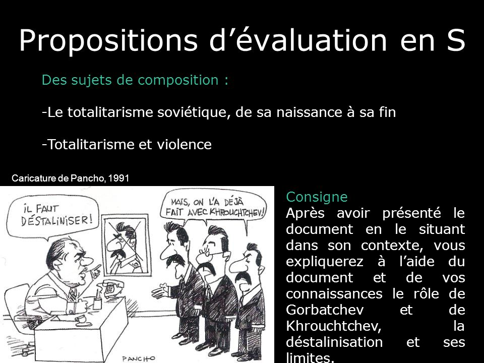 Propositions d'évaluation en S