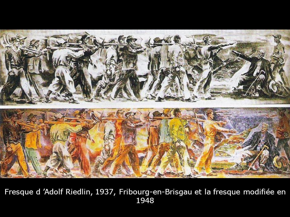 Fresque d 'Adolf Riedlin, 1937, Fribourg-en-Brisgau et la fresque modifiée en 1948