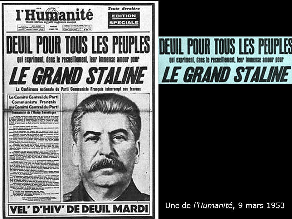 Une de l'Humanité, 9 mars 1953