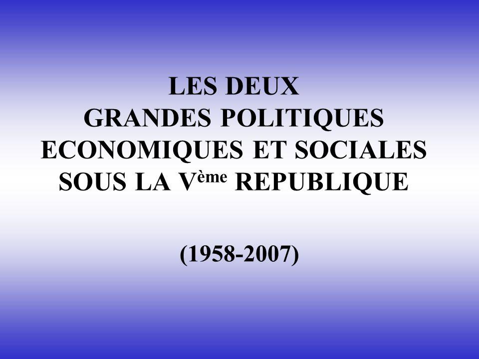LES DEUX GRANDES POLITIQUES ECONOMIQUES ET SOCIALES SOUS LA Vème REPUBLIQUE