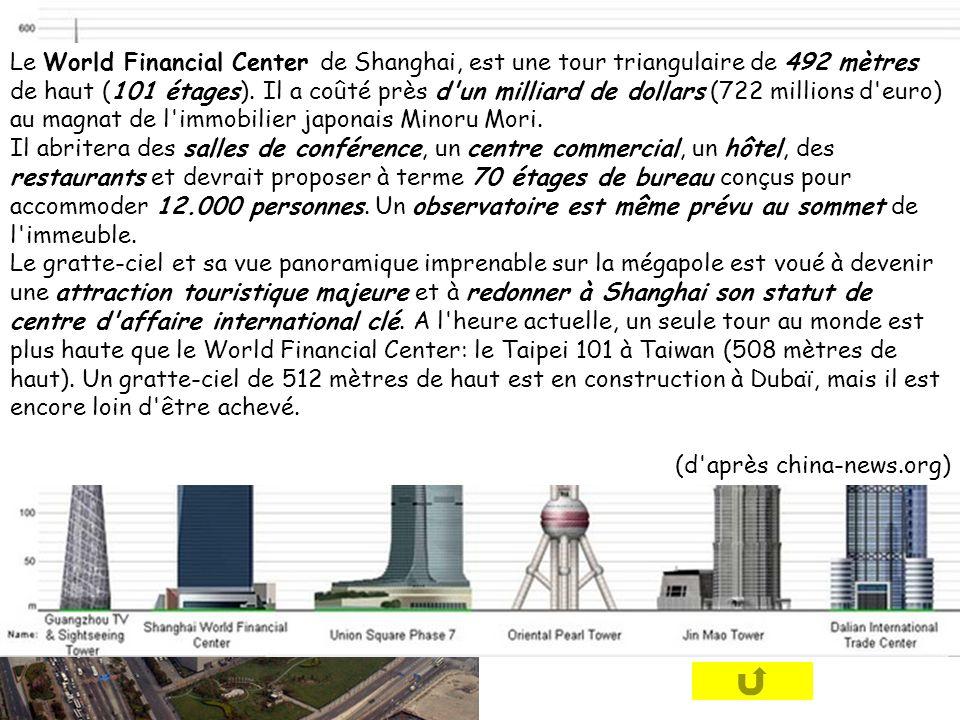 Le World Financial Center de Shanghai, est une tour triangulaire de 492 mètres de haut (101 étages). Il a coûté près d un milliard de dollars (722 millions d euro) au magnat de l immobilier japonais Minoru Mori.