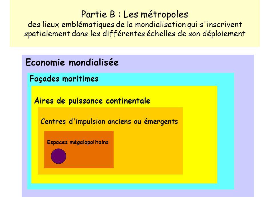 Partie B : Les métropoles des lieux emblématiques de la mondialisation qui s inscrivent spatialement dans les différentes échelles de son déploiement