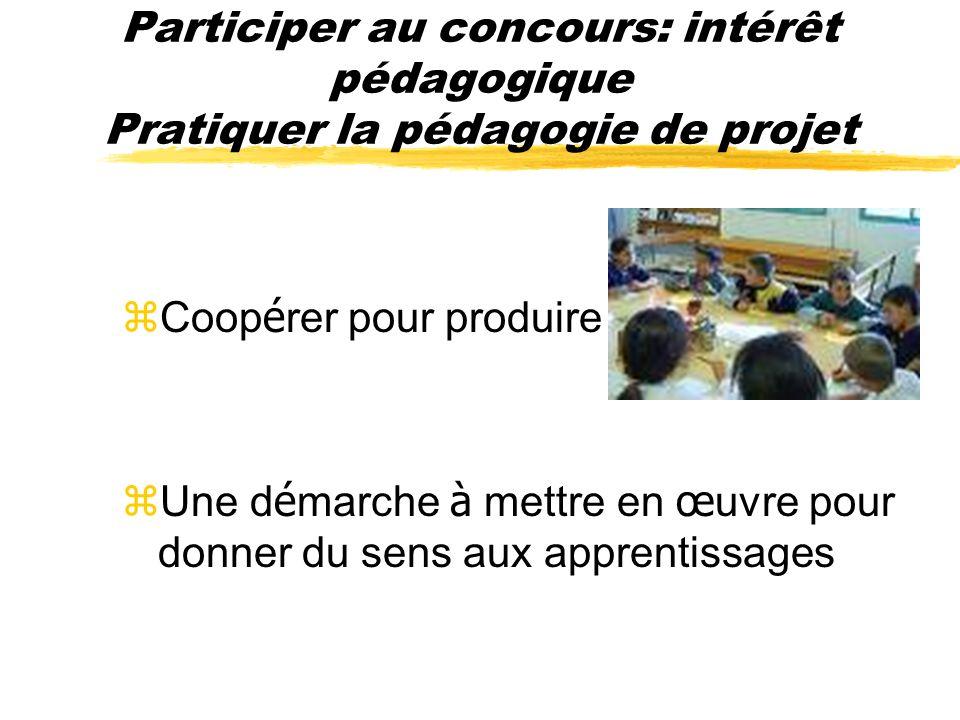 Participer au concours: intérêt pédagogique Pratiquer la pédagogie de projet