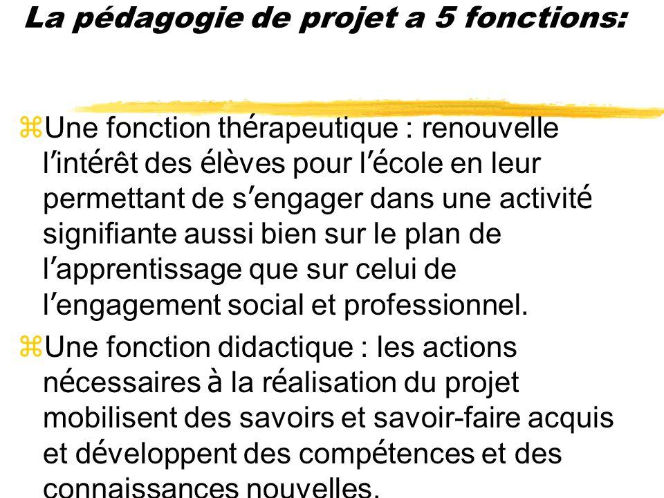 La pédagogie de projet a 5 fonctions: