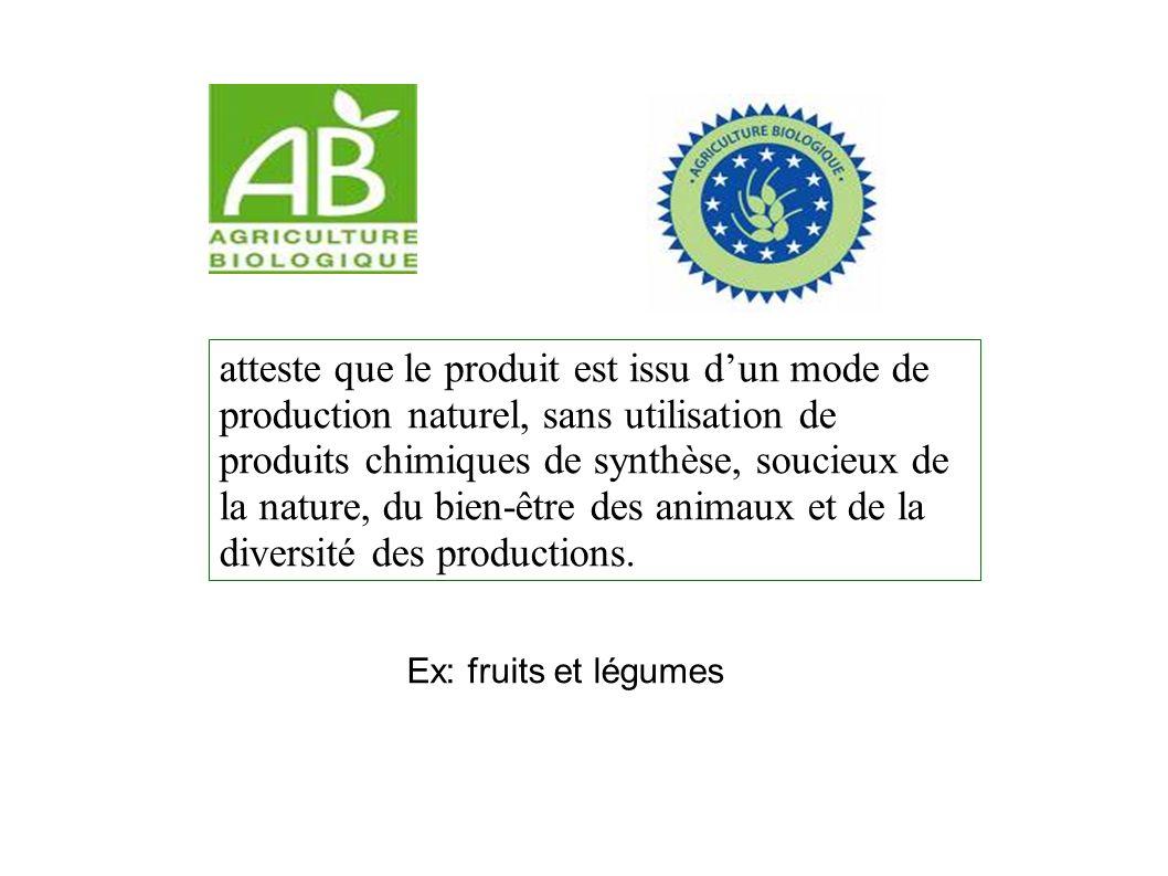 atteste que le produit est issu d'un mode de production naturel, sans utilisation de produits chimiques de synthèse, soucieux de la nature, du bien-être des animaux et de la diversité des productions.