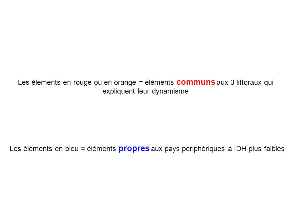 Les éléments en rouge ou en orange = éléments communs aux 3 littoraux qui expliquent leur dynamisme