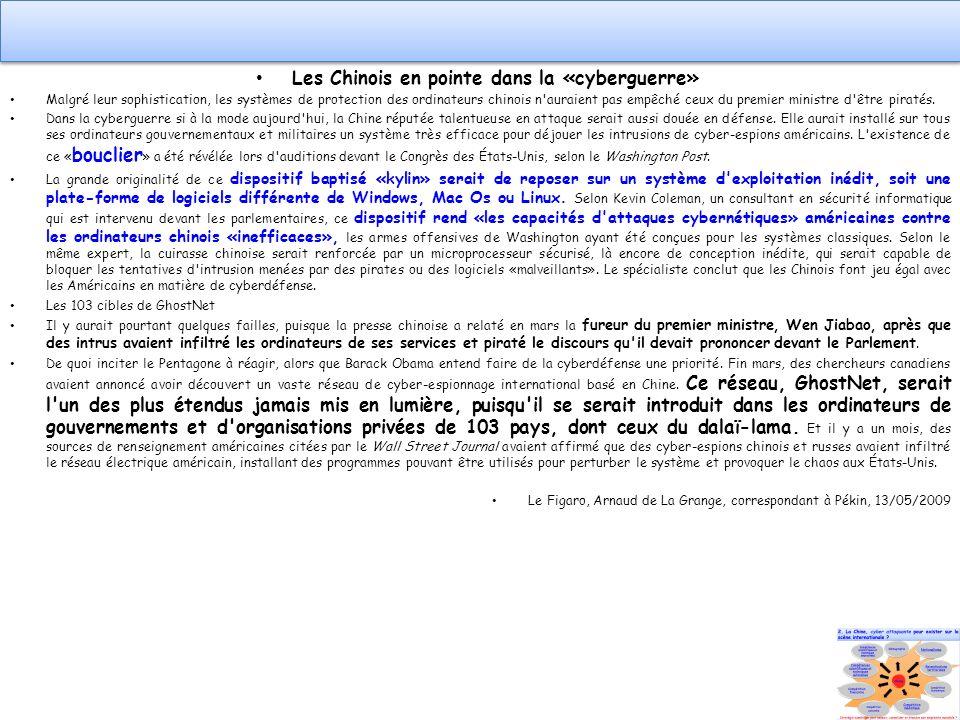 Les Chinois en pointe dans la «cyberguerre»
