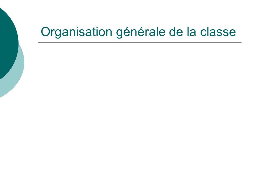 Organisation générale de la classe