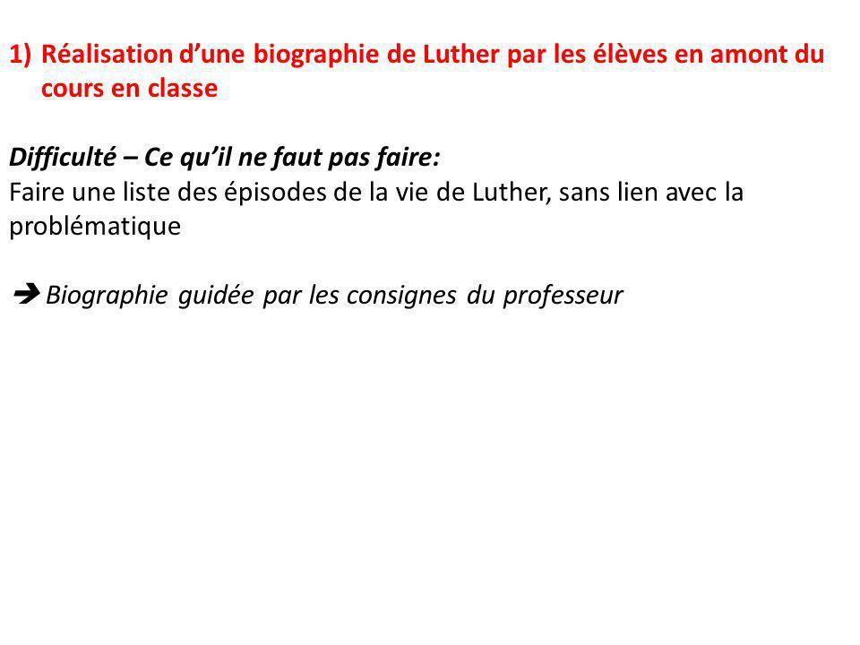 Réalisation d'une biographie de Luther par les élèves en amont du cours en classe