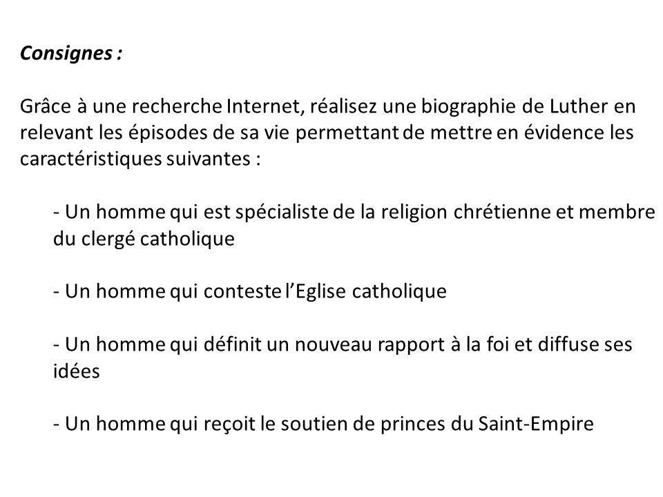 Consignes : Grâce à une recherche Internet, réalisez une biographie de Luther en.