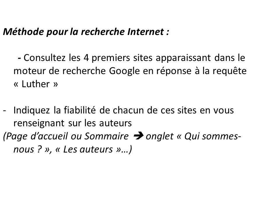 Méthode pour la recherche Internet :