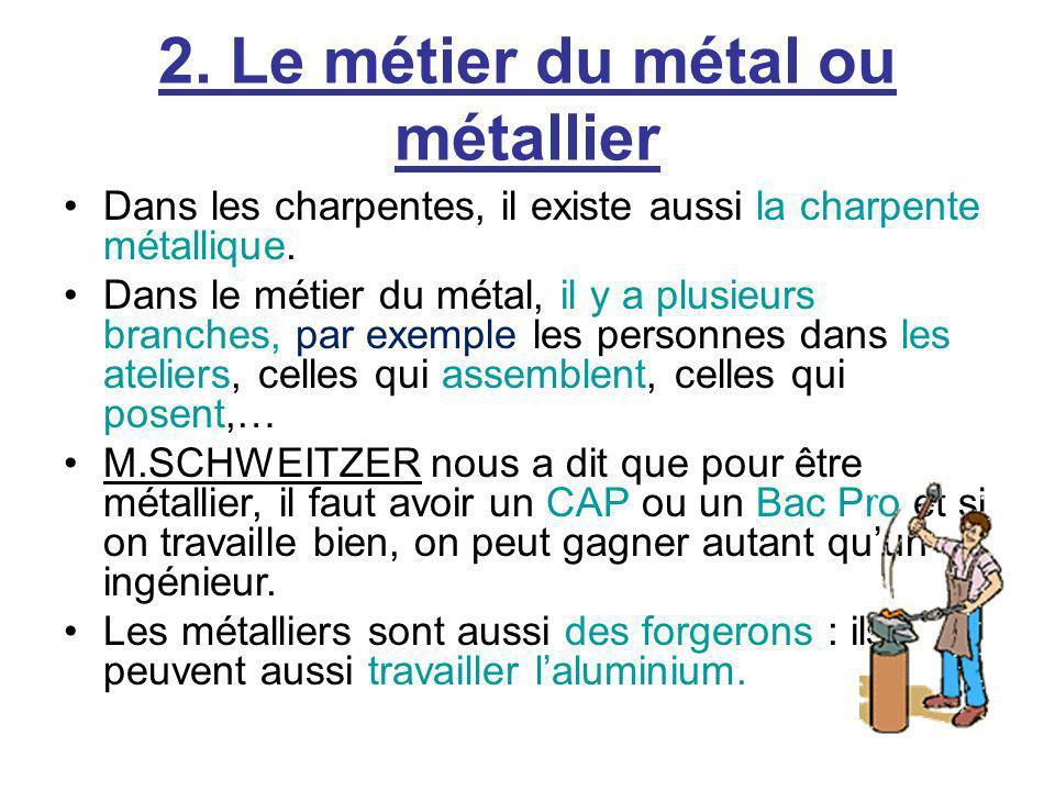 2. Le métier du métal ou métallier