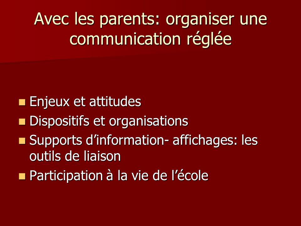 Avec les parents: organiser une communication réglée