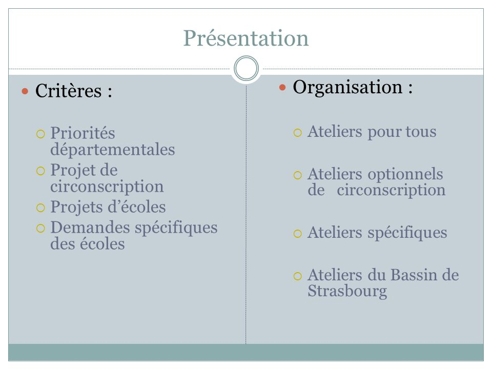 Présentation Organisation : Critères : Priorités départementales