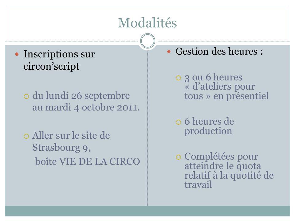 Modalités Inscriptions sur circon'script Gestion des heures :