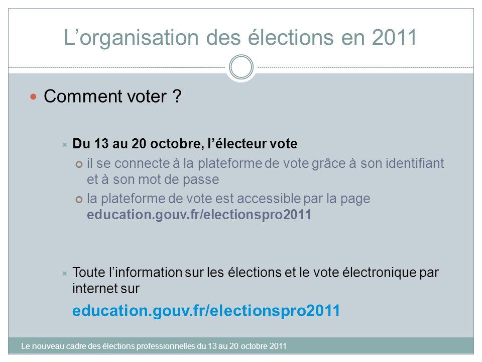 L'organisation des élections en 2011