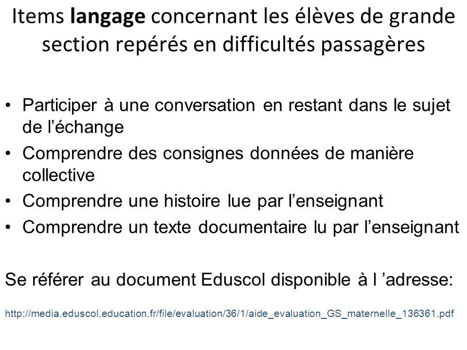 Items langage concernant les élèves de grande section repérés en difficultés passagères