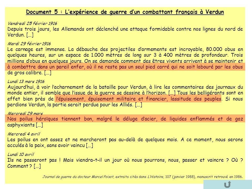 Document 5 : L'expérience de guerre d'un combattant français à Verdun