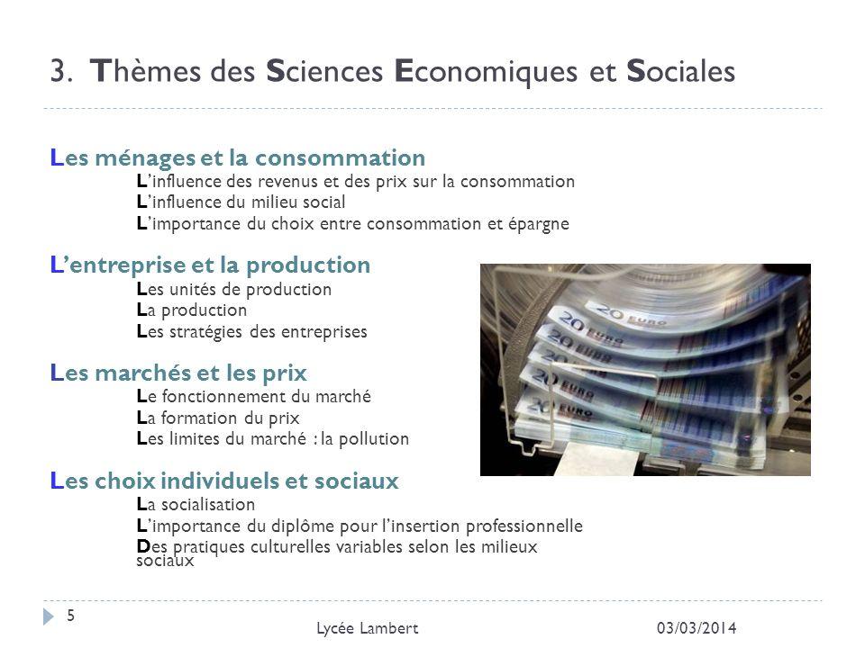 3. Thèmes des Sciences Economiques et Sociales