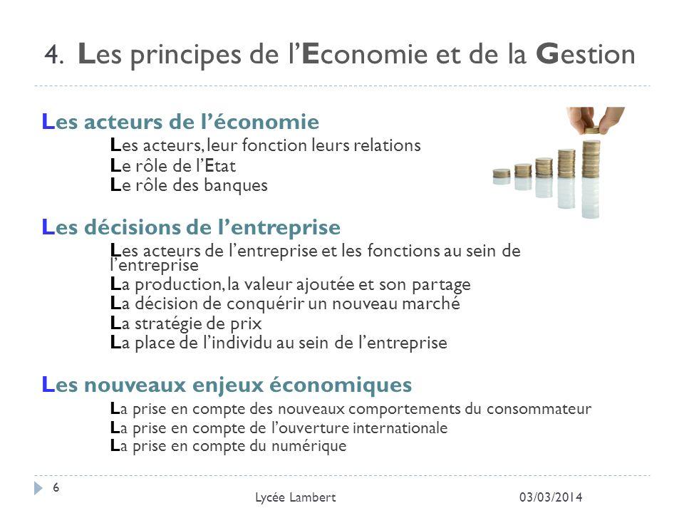 4. Les principes de l'Economie et de la Gestion