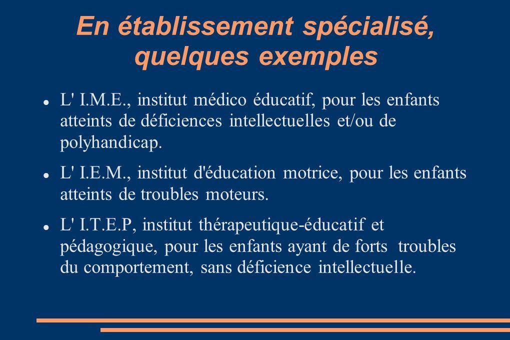 En établissement spécialisé, quelques exemples